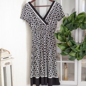 Black White Pattern Midi Dress w/ Wrap Type Top